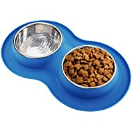 Roysili Double Dog Bowl Pet Feeding Station, Stainless Steel Water and Food Bowls with Non Skid Non Spill Silicone Mat, Premium Quality Dog Bowl Holder for Small Medium Dogs Cats Puppy (Small)