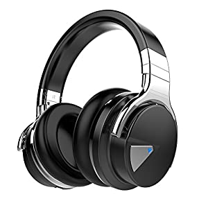 COWIN E7 Wireless Bluetooth Headphones with Mic Hi-Fi Deep Bass Wireless Headphones Over Ear, Comfortable Protein Earpads, 30 Hours Playtime for Travel Work TV Computer Phone - Black