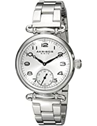 Akribos XXIV Womens AK806SS Quartz Movement Watch with Silver Dial and Stainless Steel Bracelet