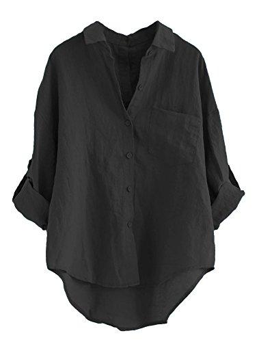 - Minibee Women's Linen Blouse High Low Shirt Roll-Up Sleeve Tops Black L