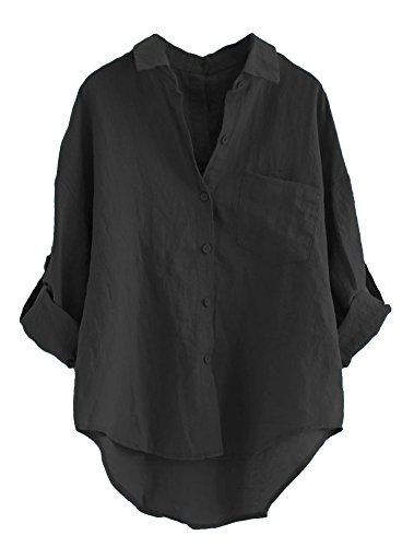 Minibee Women's Linen Blouse High Low Shirt Roll-Up Sleeve Tops Black 2XL by Minibee