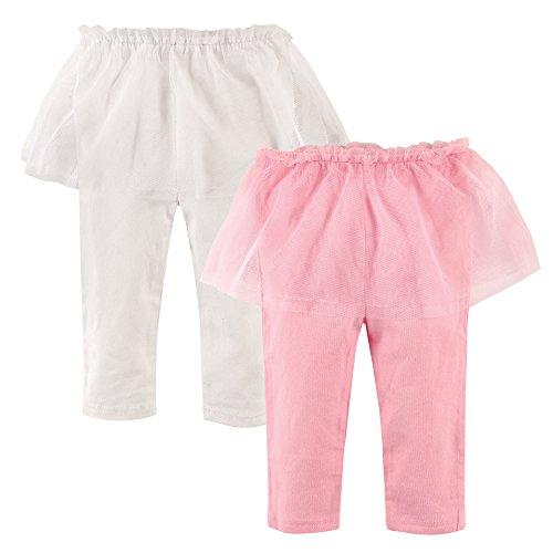 Hudson Baby Baby-Girl Tutu Leggings, 2 Pack, Pink & White, 0-3 Months