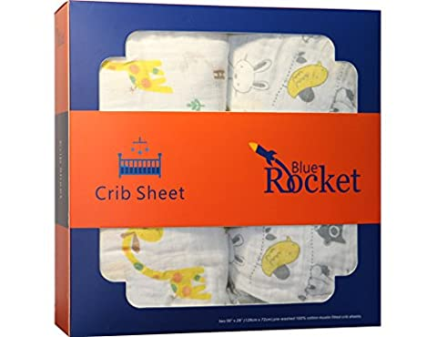Blue Rocket Pre-washed 100% Cotton Muslin Fitted Crib Sheets, Animal, 2 Pack