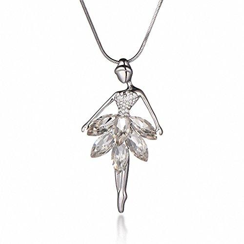 Kalapure Dancer Ballet Dancing Ballerina Pendant Little Girl Sweater Necklace with Austrian Crystal (White) ()