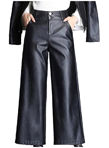 Abetteric Women Buckle Pockets Faux Leather Solid Skinny Palazzo Pants Black 2XL