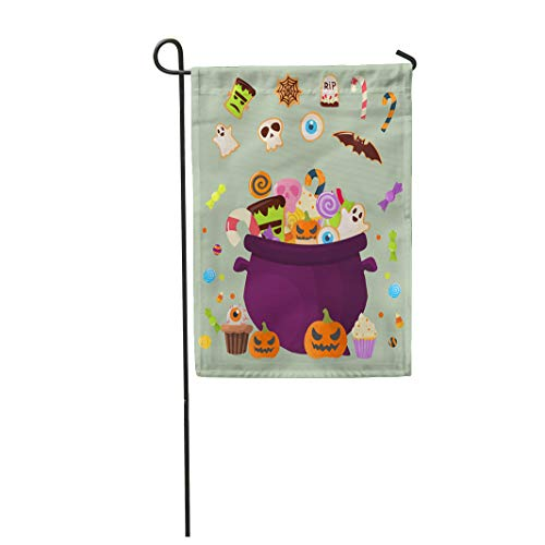 Semtomn Garden Flag Halloween Party Cauldron Colorful Sweets Cupcakes Lollipops Jelly Beans 28