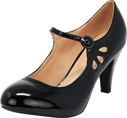Cambridge Select Women's Round Toe Mid Heel Mary Jane Dress Pump (9 B(M) US, Black Patent)