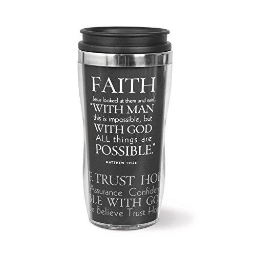 Lighthouse Christian Products Faith Wavy Acrylic/Stainless Steel Tumbler Mug, 13 oz by Lighthouse Christian Products