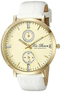 Ted Baker Women's TE2105 Smart Casual Gold Dial Gold Case White Strap Watch