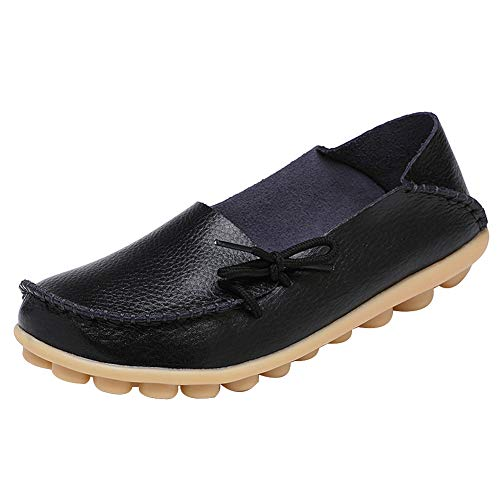 DUOYANGJIASHA Women's Leather Loafers Slip On Flats Casual Round Toe Moccasins Wild Breathable Comfortable Driving Fashion Soft Shoes