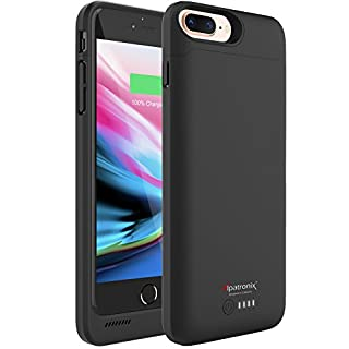 iPhone 8 Plus/7 Plus Battery Case, 5000mAh Slim Portable Protective Extended Charger Cover with Qi Wireless Charging Compatible with iPhone 8 Plus & iPhone 7 Plus (5.5 inch) BX190plus - (Black)
