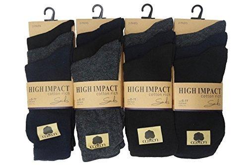 390db3d8e Mens 12 Pack Cotton Rich Socks Mens Multipack Dozen Colour Heel Plain Socks  6-11