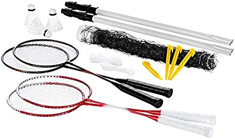 Crivit Badminton Set Badminton Badminton Badminton 4 Badminton Rackets 3 Shuttlecocks 1 Play Net Amazon Co Uk Sports Outdoors