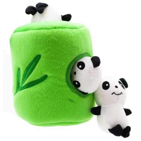ZippyPaws - Zoo Friends Burrow, Interactive Squeaky Hide and Seek Plush Dog Toy - Panda 'n Bamboo