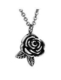 COCO Park Rose Flower & Leaf Cremation Jewelry Stainless Steel Ash Urn Pendant Necklace Memorial Keepsake