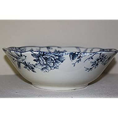 222 Fifth Adelaide Blue & White Serving Bowl - Approx 10