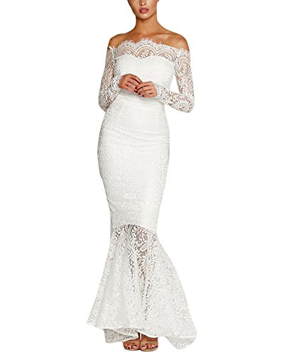 Lalagen Women's Floral Lace Long Sleeve Off Shoulder Wedding Mermaid Dress White L