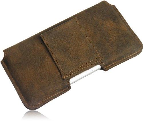 Matador iPhone 6 Plus / 6s Plus (5.5) Leder-Hülle Leder-Tasche ECHT Leder Hülle Case Tasche mit Gürtelschlaufe in Vintage Old Style Antik Tabacco Braun