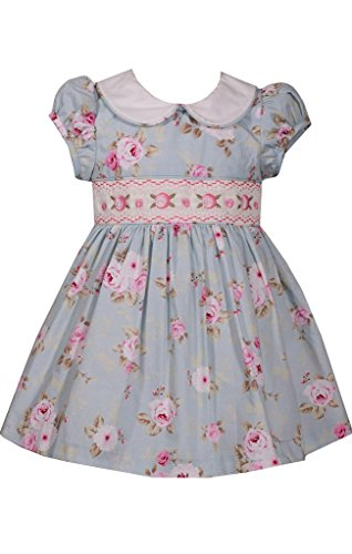 Bonnie Baby Baby Girls Smocked Waist Dress and Panty, Antique/Blue, 6-9 Months