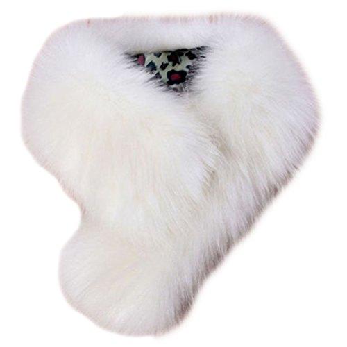 Tuesdays2 Women's Faux Fur Scarf Scarves Collar Shawl Wraps Stole Hood Trim Fluffy (White) White Faux Fur Trim