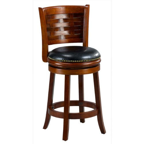 Cherry Woven Back Swivel Counter Stool Home And Barstool