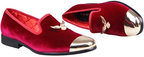 Elanroman Hombres Noble Hebilla De Moda Con Metal Toe Hombres Zapatos De Los Holgazanes De Terciopelo Del Banquete De Boda Vestido Hecho A Mano Zapatos Holgazanes Zapatos Para Hombres De Gran Tamaño Rojo