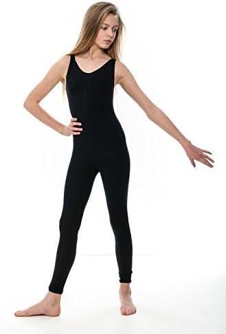 Katz Dancewear Girls Ladies Black Cotton Sleeveless Footless Catsuit Unitard KDC056