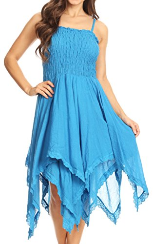 Sakkas 2058 - Ella Smocked Bodice Spaghetti Strap Double Layered Dress - SkyBlue - (Layered Spaghetti Strap)