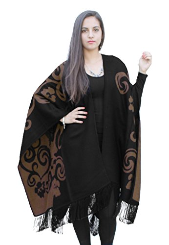 Superfine Reversible Woven Alpaca Wool Cape Ruana Poncho Wrap One Size (Black/Brown) by Ccahuantico