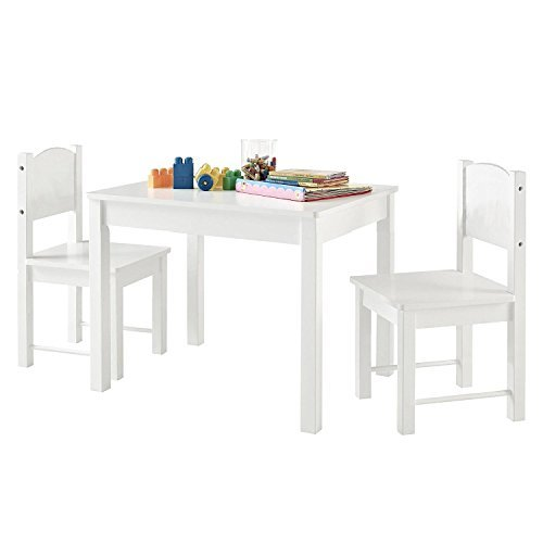 Timy Wooden Kids Table & 2 Chairs Set for Playing, Learning, Eating, White