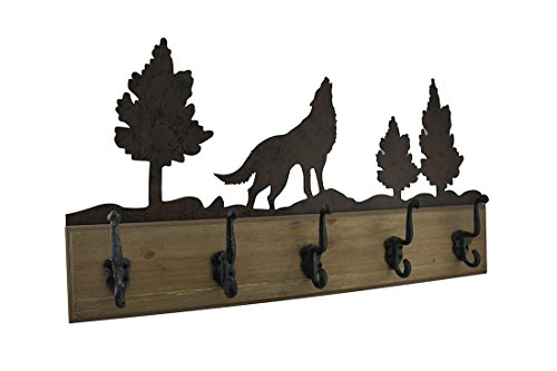 Wood & Metal Decorative Wall Hooks Wood And Metal Howling Wolf Forest Shadow Wall Hook Hanging 23.5 X 13 X 3.5 Inches Brown Model # 33381 Wildlife Coat Racks
