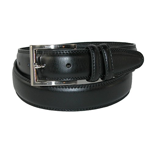 Aquarius Men's Big & Tall Leather Padded Belt with Satin Buckle, 48, Black ()