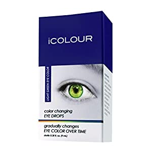 iCOLOUR Color Changing Eye Drops - Change Your Eye Color Naturally - 1 Month Supply - 9 mL (Light Green)