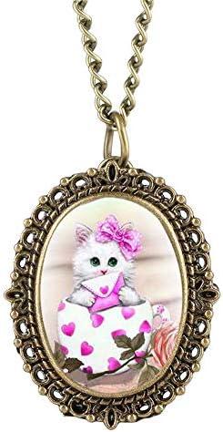 YXZQ懐中時計、素敵なかわいい猫柄の楕円形の小型エレガントな女性の時計ネックレスペンダント時計ギフト