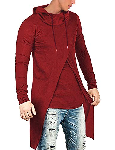 COOFANDY Men's Slim Fit Hoodie Lightweight Hooded Sweatshirt Casual Hip Hop Long Length Cloak Cotton Blend Pullover Red (Jacket Men Cloak)