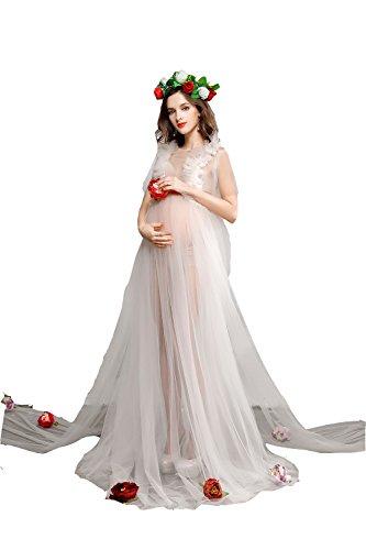 Hopeverl Maternity Transparent High Waist Wedding Dress Sleeveless Gown Yarn Skirt for Photos Shoot