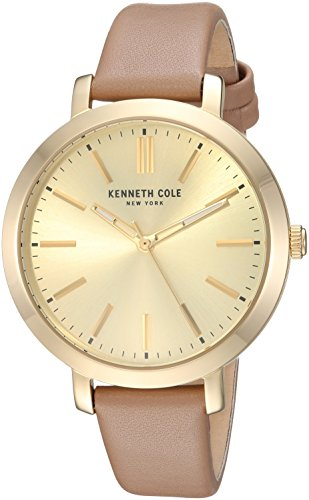 Kenneth Cole New York Women's Quartz Stainless Steel and Leather Casual Watch, Color:Beige (Model: KC15173007)