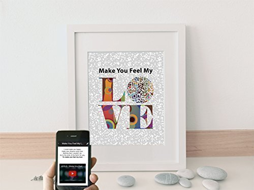 Personalized paper Anniversary Gift for Husband or Wife, Make You Feel My Love by ADELE or Bob Dylan Inspired QR Code Song Art, First Dance Song Lyric Gifts for Him or Her, Print Only (To Make Me Feel Your Love Bob Dylan)