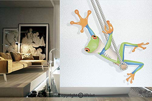 (Decorative Privacy Window Film/Illustration of Funny Small Frog on a Swing Friendly Happy Animal Modern Art Print/No-Glue Self Static Cling for Home Bedroom Bathroom Kitchen Office Decor Green Teal Or)