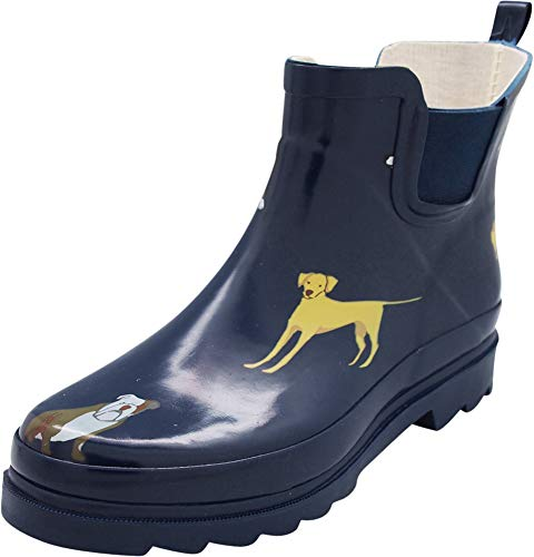 NORTY - Womens Ankle High Dogs Print Boot, Navy 40926-7B(M) US ()