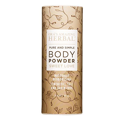 Natural Body Powder, Dusting Powder, No Talc, Cornstarch, Grain or Gluten, Sweet Love Scent (Essential Oils/Oleoresin Vanilla, Amber, Ylang Ylang, Frankincense), Non GMO, Ora's Amazing Herbal