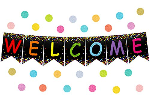 Welcome Pennants Confetti-Themed Banner for Back to School Bulletin Board Classroom Decoration -