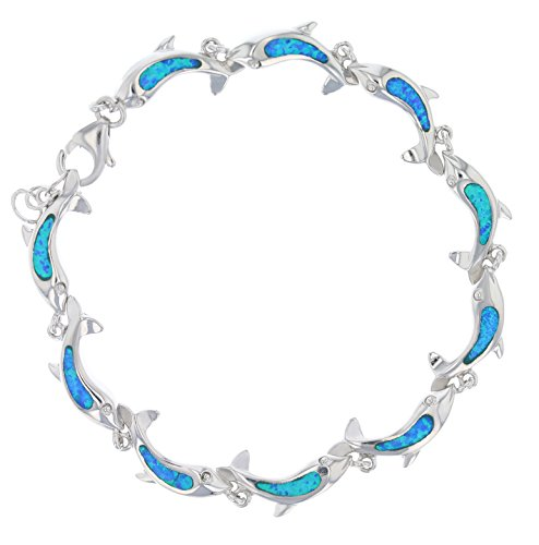 Tropical USA Sterling Silver Created Blue Opal Inlay Dolphin Adjustable - Opal Synthetic Blue Inlay