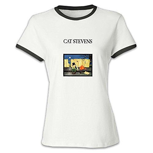 FENGTING Women's Cat Stevens Folkmusic Hit Color T-shirt M Black Tee