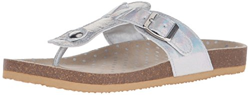 The Children's Place Girls' Luna T Strap Sandal Slide, Silver, 11 M US Little Kid (Children Place Girls Sandals)