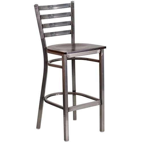 Flash Furniture HERCULES Series Clear Coated Ladder Back Metal Restaurant Barstool - Walnut Wood ()
