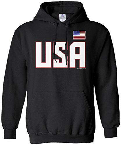 Threadrock Women's USA National Pride Hoodie Sweatshirt S Black