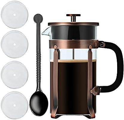 1 litro de café y té francés, sistema de filtración de acero inoxidable, resistente al calor, cafetera de vidrio de borosilicato, 8 tazas cafetera taza de ...