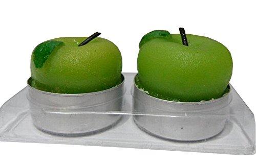 (4EVER Tealights Candles Color Apple Orange Strawberry Shape Designer Fruits Scented, Set of 2 (Green Apple) by 4EVER)