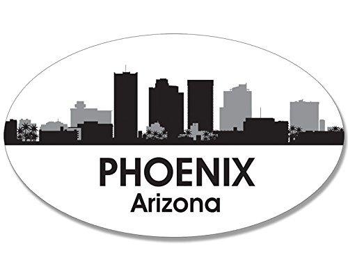 Az Reflector (Oval B/W SKYLINE of PHOENIX Sticker (city az arizona))